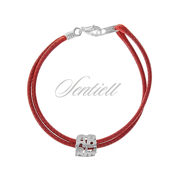 Silver (925) bracelet, red cord- Blood type ABrh+