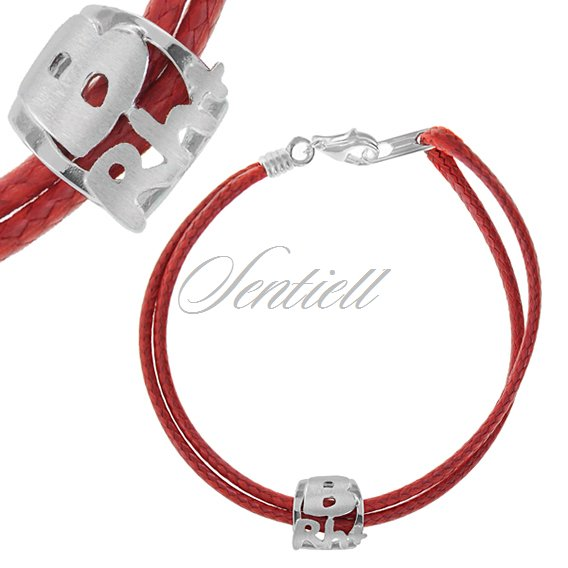 Silver (925) bracelet, red cord- Blood type Brh+