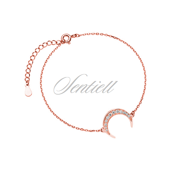 Silver (925) bracelet - rose gold-plated crescent with zirconia