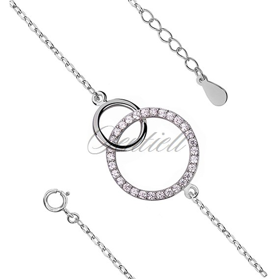 Silver (925) bracelet two circles with zirconia