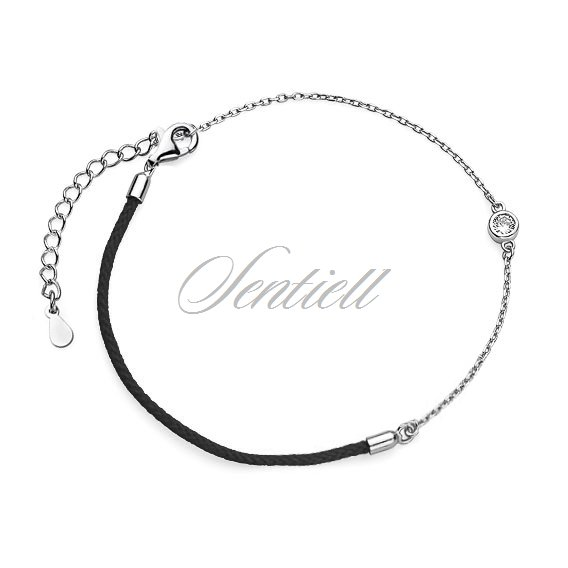 Silver (925) bracelet with black cord and zirconia