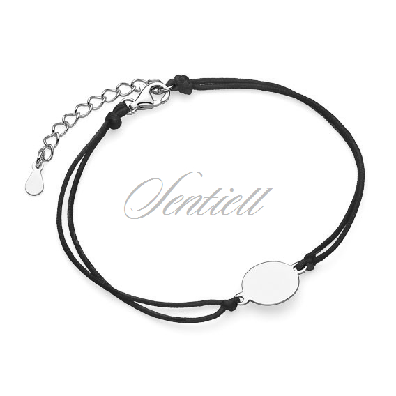 Silver (925) bracelet with black cord - circle
