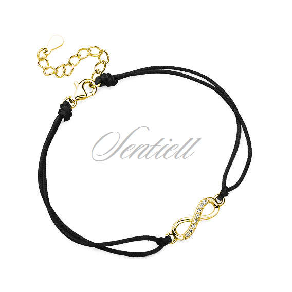 Silver (925) bracelet with black cord - gold-plated infinity with zirconia