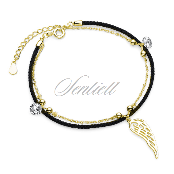 Silver (925) bracelet with black cord - gold-plated wing and zirconia