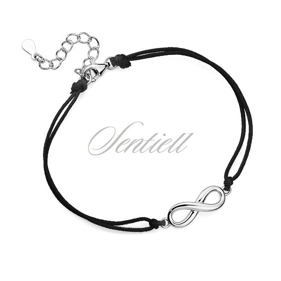 Silver (925) bracelet with black cord - infinity