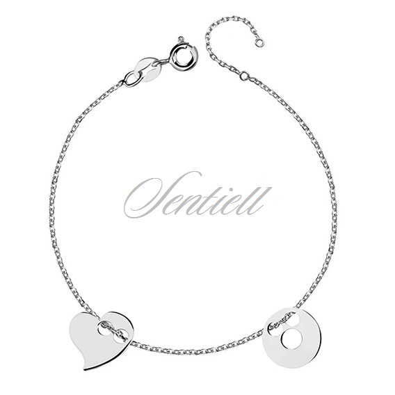 Silver (925) bracelet with circle and heart