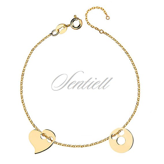 Silver (925) bracelet with circle and heart, gold-plated