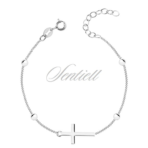 Silver (925) bracelet with cross and balls