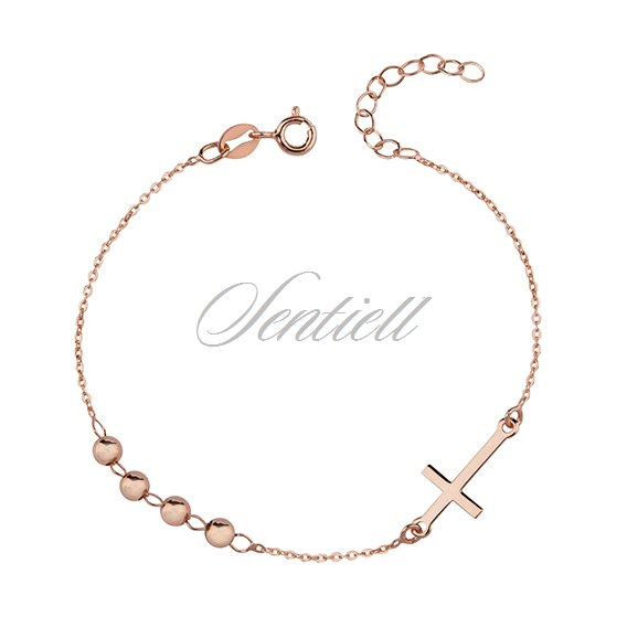 Silver (925) bracelet with cross, rose gold-plated