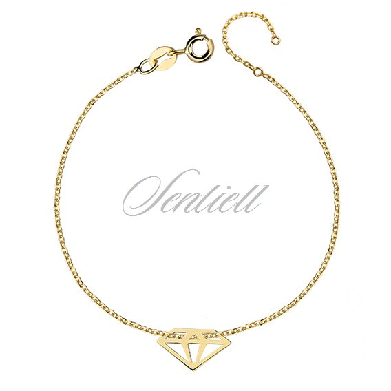 Silver (925) bracelet with diamond, gold-plated