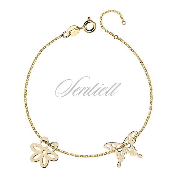 Silver (925) bracelet with flower and butterfly, gold-plated