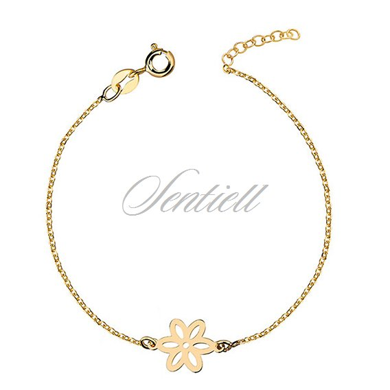 Silver (925) bracelet with flower, gold-plated
