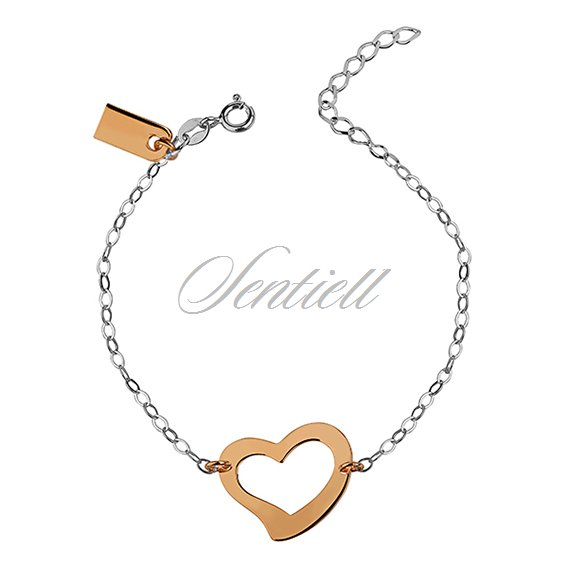 Silver (925) bracelet with gold plated heart