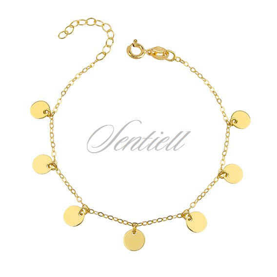 Silver (925) bracelet with gold-plated round pendants