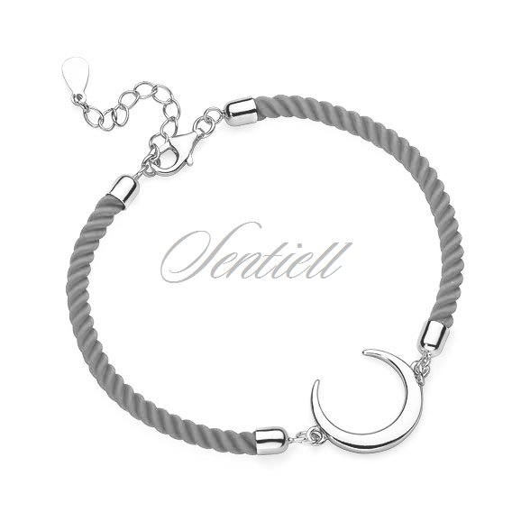Silver (925) bracelet with grey cord - crescent