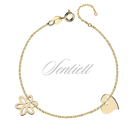 Silver (925) bracelet with heart and flower, gold-plated