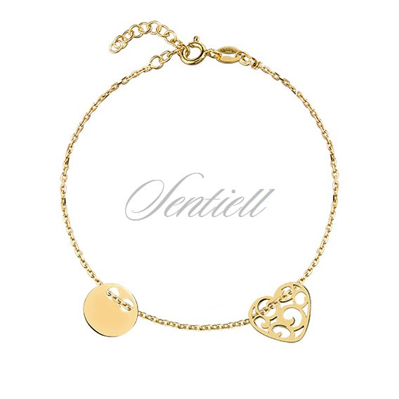 Silver (925) bracelet with open-work heart and circle, gold-plated