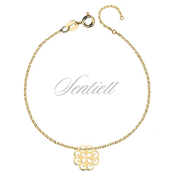 Silver (925) bracelet with open-work pendant, gold-plated