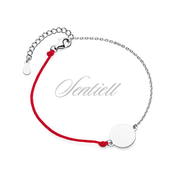 Silver (925) bracelet with red cord - circle