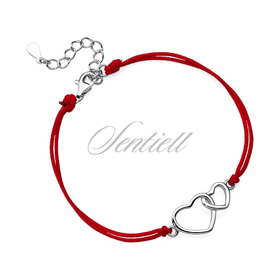 Silver (925) bracelet with red cord - hearts