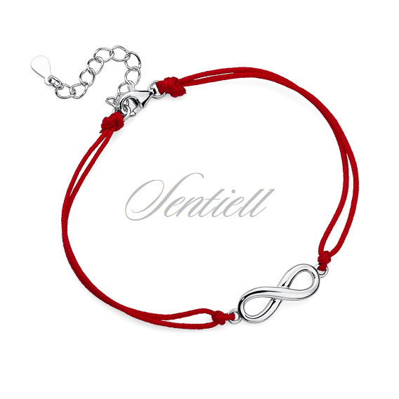 Silver (925) bracelet with red cord - infinity