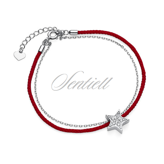 Silver (925) bracelet with red cord - star with zirconia