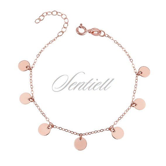 Silver (925) bracelet with rose gold-plated round pendants