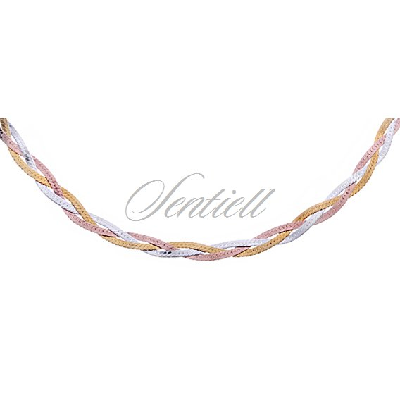 Silver (925) braided plait chain necklace Ø 024 - gold & rose gold