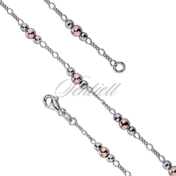 Silver (925) chain bracelet with diamond cut  balls