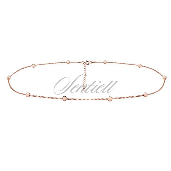 Silver (925) choker necklace with balls - rose gold-plated