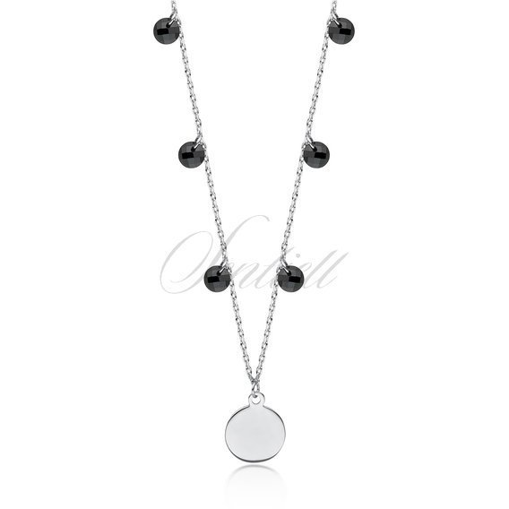 Silver (925) choker necklace with circle and black zirconia / spinels