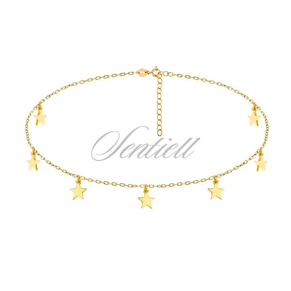 Silver (925) choker necklace with star pendants, gold-plated