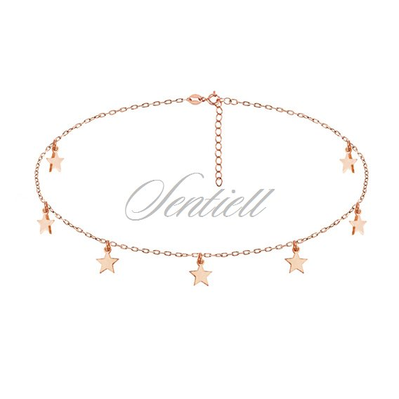 Silver (925) choker necklace with star pendants, rose gold-plated