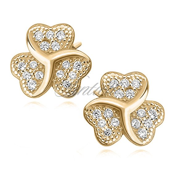 Silver (925) clover earrings with zirconia, gold-plated