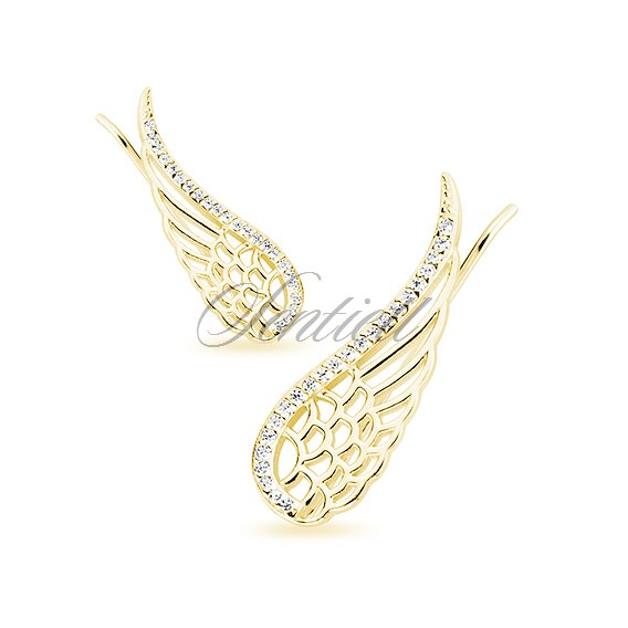 Silver (925) cuff earrings - gold-plated wings with zirconia