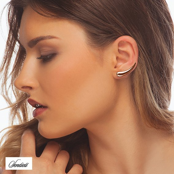 Silver (925) cuff earrings, rose gold-plated