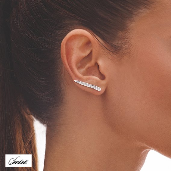 Silver (925) cuff earrings with zirconia