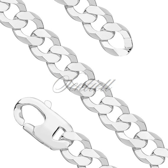 Silver (925) diamond-cut chain - curb extra flat