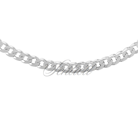Silver (925) diamond-cut chain - curb extra flat Ø 0140 rhodium-plated