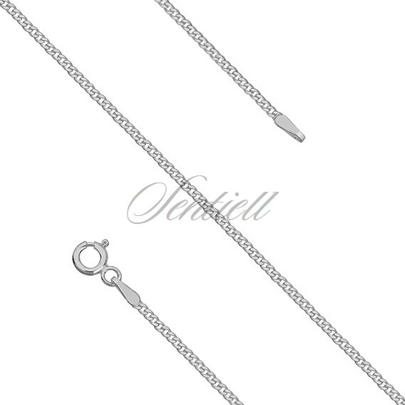 Silver (925) diamond-cut chain - curb extra flat Ø 040 rhodium-plated