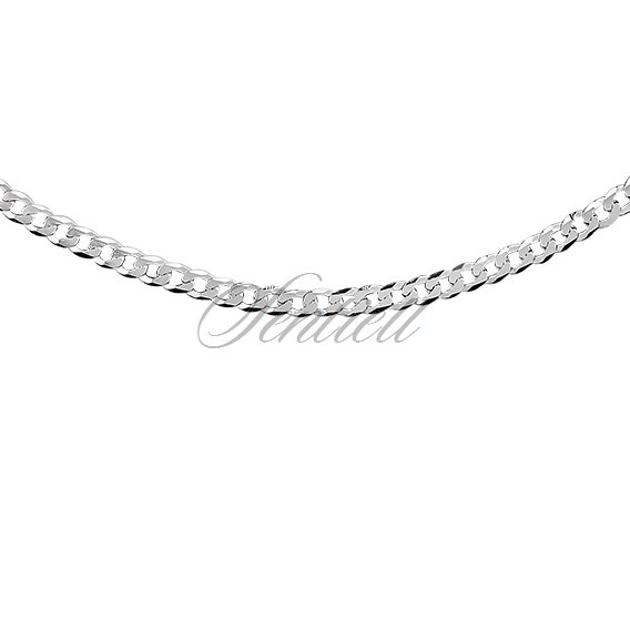 Silver (925) diamond-cut chain - curb extra flat Ø 080  rhodium-plated