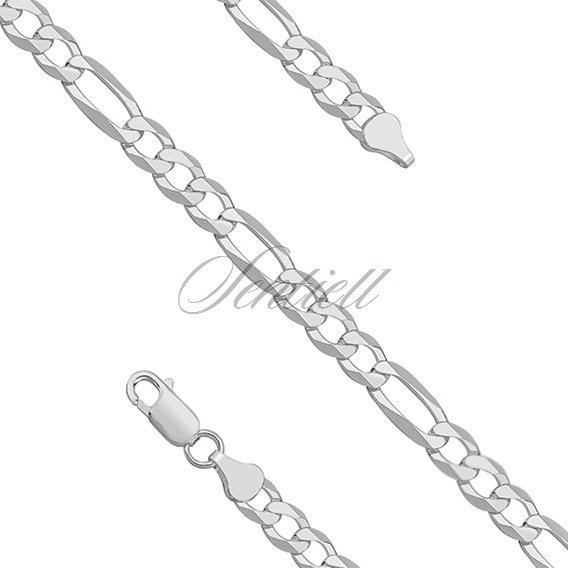 Silver (925) diamond-cut chain - figaro extra flat Ø 0150 rhodium-plated
