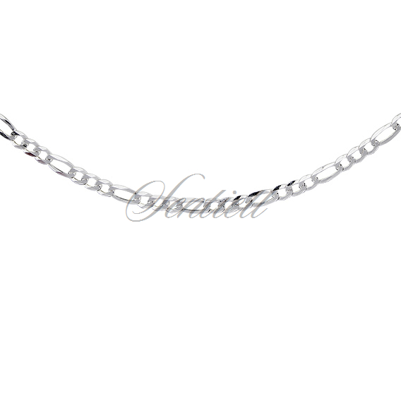 Silver (925) diamond-cut chain - figaro extra flat Ø 080 rhodium-plated