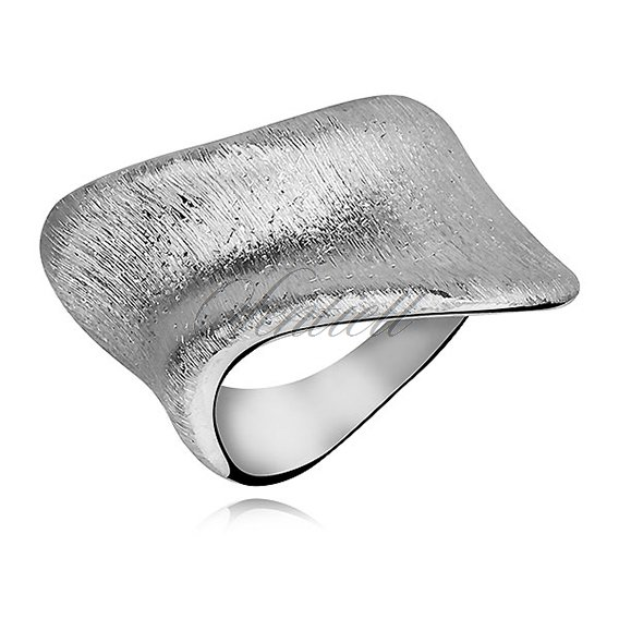 Silver (925) diamound-cut ring, concave wave