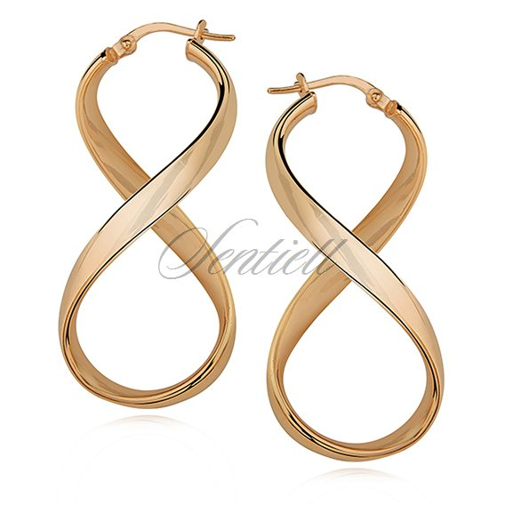Silver (925) earrings Infinity - highly polished, gold-plated