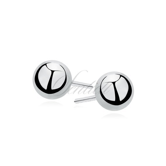 Silver (925) earrings balls 3mm rhodium-plated