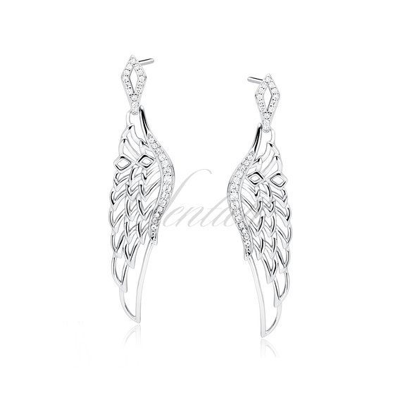 Silver (925) earrings - beautiful wings with zirconia