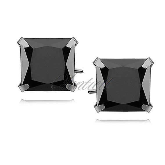 Silver (925) earrings black zirconia 8 x 8mm square