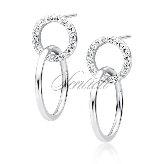 Silver (925) earrings - cirlces with zirconia