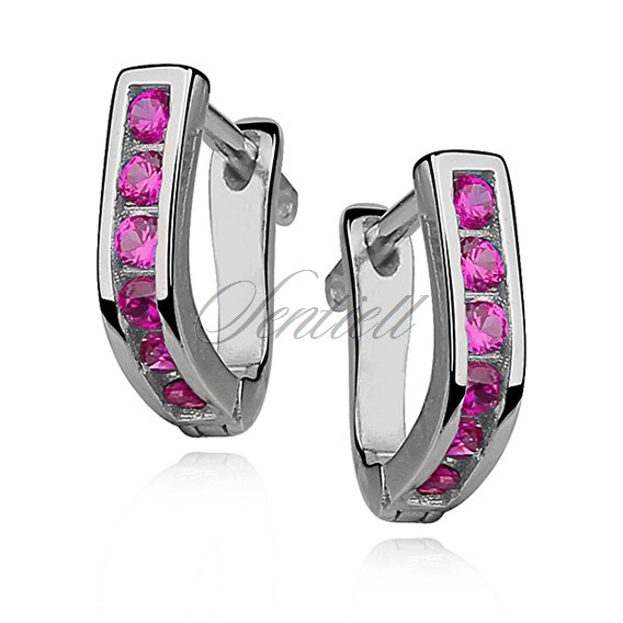 Silver (925) earrings dark pink zirconia